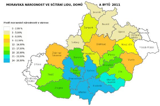 moravská národnost ve sčítání lidu 2011 - okresy