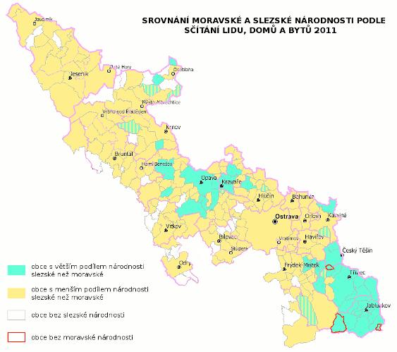 mapa srovnání slezské a moravské národnosti ve sčítání lidu 2011 - absolutní hodnoty