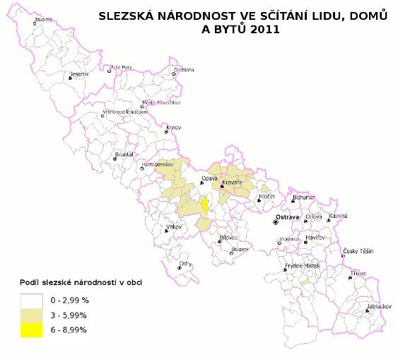mapa slezské národnosti ve sčítání lidu 2011 - absolutní hodnoty