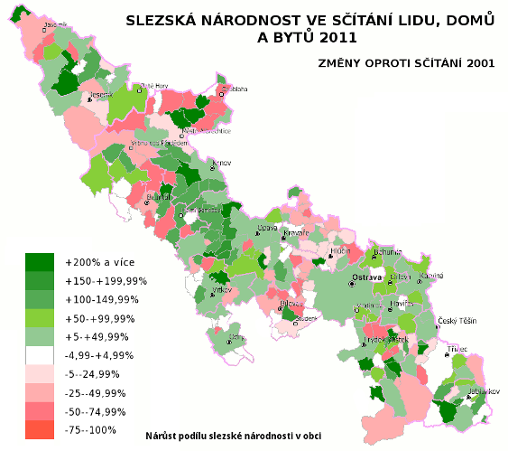 mapa slezské národnosti ve sčítání lidu 2011 - změny oproti sčítání 2001