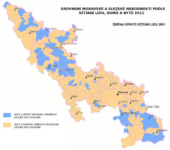 mapa srovnání slezské a moravské národnosti ve sčítání lidu 2011 - poměr nárůstu slezské a moravské národnosti