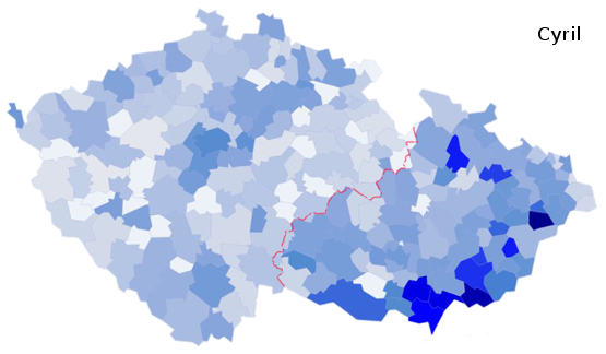 zastoupení jména Cyril na území České republiky