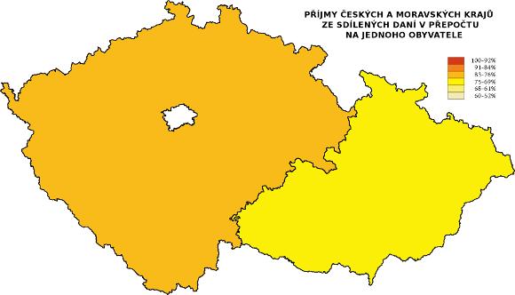Čechy a Morava ve srovnání příjmů krajů ze sdílených daní