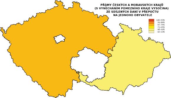 Čechy a Morava ve srovnání příjmů krajů ze sdílených daní - bez kraje Vysočina
