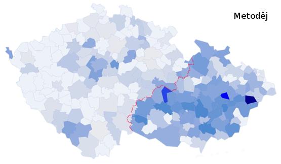 zastoupení jména Metoděj na území České republiky