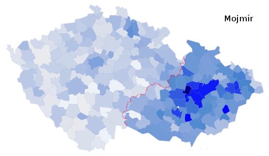 zastoupení jména Mojmír na území České republiky