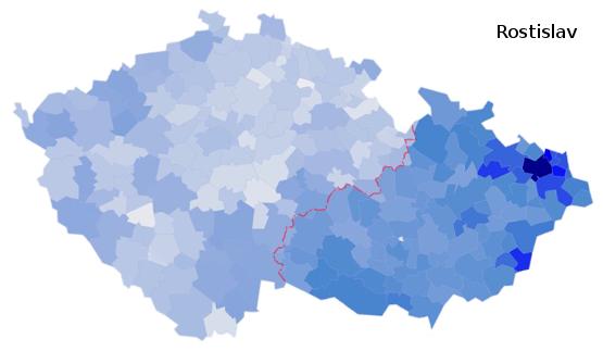 zastoupení jména Rostislav na území České republiky