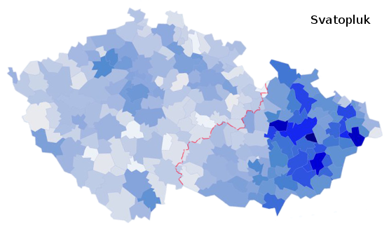 zastoupení jména Svatopluk na území České republiky