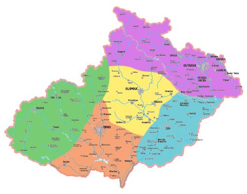 jednotlivé světové strany na mapě Moravy