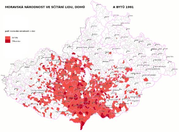 nadpoloviční podíl moravské národnosti podle sčítání lidu 1991