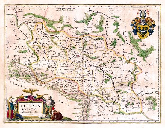 dolnoslezská orlice jako celoslezský symbol na mapě Slezska z roku 1645