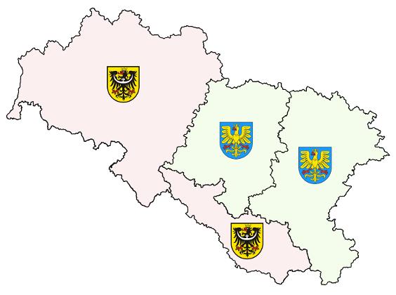 dnešní využití dolnoslezských a hornoslezských orlic jako symbolů územích celků v Polsku a ČR