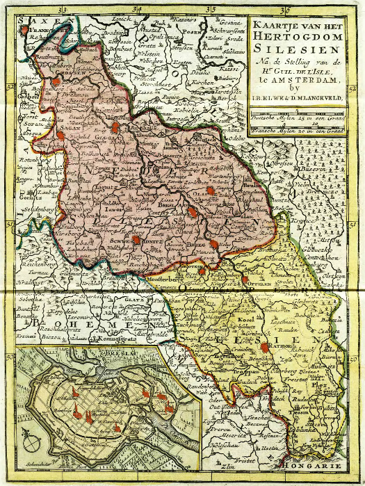 rozdělení Slezska na dolní a horní Slezsko na nizozemské mapě z roku 1700