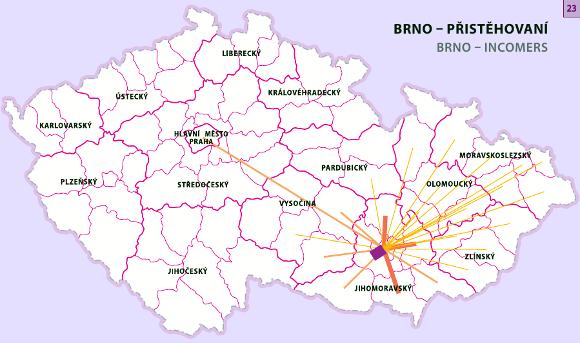 přistěhovalectví do Brna podle okresů v letech 2001-2006