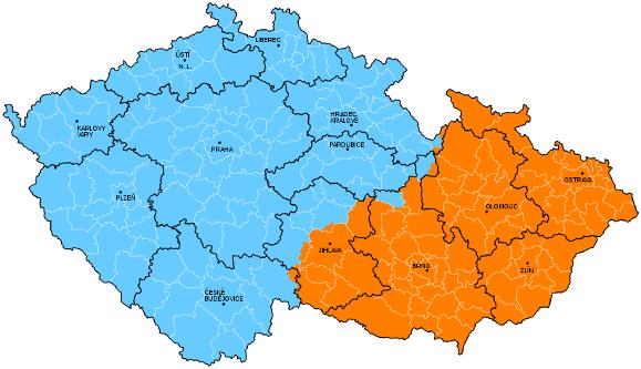 Upravené sféry spádovosti krajských měst ČR v rámci obvodů obcí s rozšířenou působností