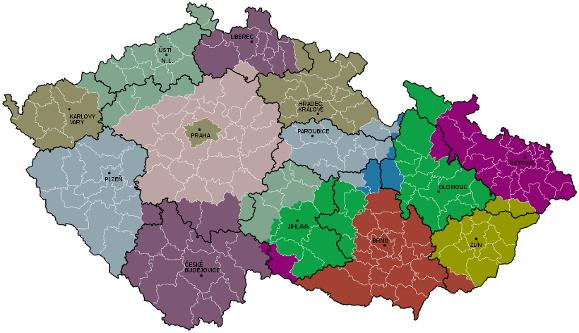 Návrh na úpravu hranic krajů ČR podle Haláse a Klapky