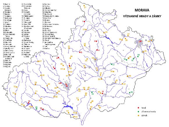 Morava - významné hrady a zámky