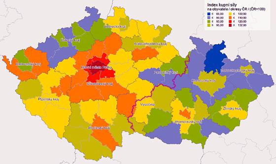 Srovnání kupní síly Moravy a Čech (podle okresů ČR)