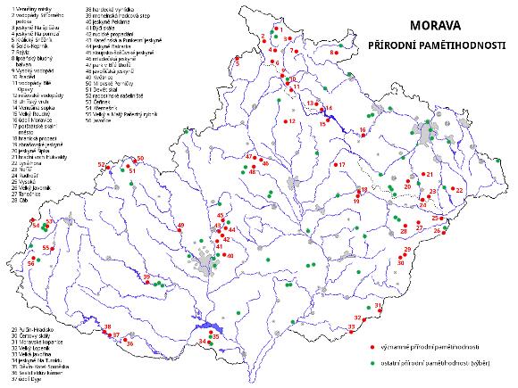 Morava - přírodní pamětihodnosti