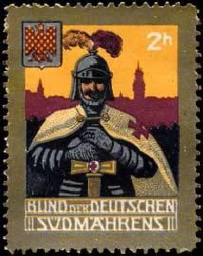 zlato-červeně šachovaná orlice na známce Svazu Němců jižní Moravy