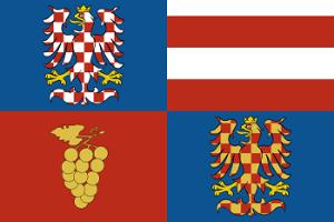 dvě varianty moravské orlice ve vlajce Jihomoravského kraje