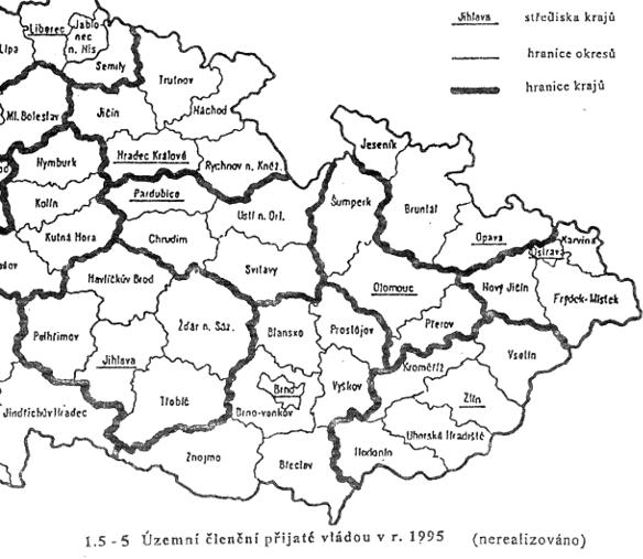 vládní návrh zákona na zřízení sedmnácti krajů na území ČR z roku 1995