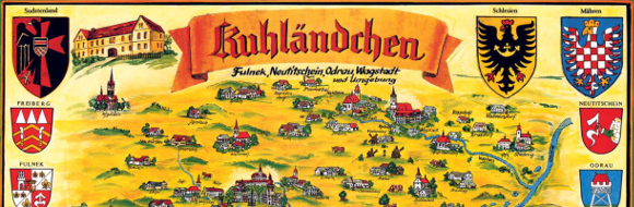 stříbrno-červené šachování moravské orlice na sudetoněmecké mapě Kravařska