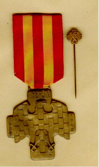 zemské barvy žlutá a červená na odbojové medaili Moravské revoluční armády (1939-1945)