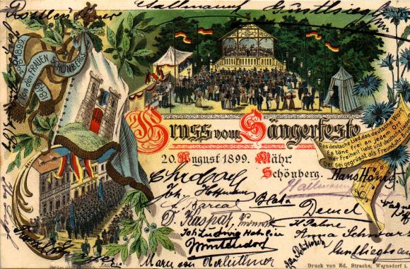 velkoněmecká trikolóra na pěvecké slavnosti v Šumperku v roce 1899