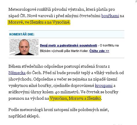 podle novinářů Novinek je Vysočina něco jiného než Morava