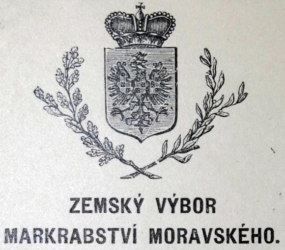 zlato-červené šachování moravské orlice na úředním dokumentu Zemského výboru markrabství moravského (počátek 20. století)