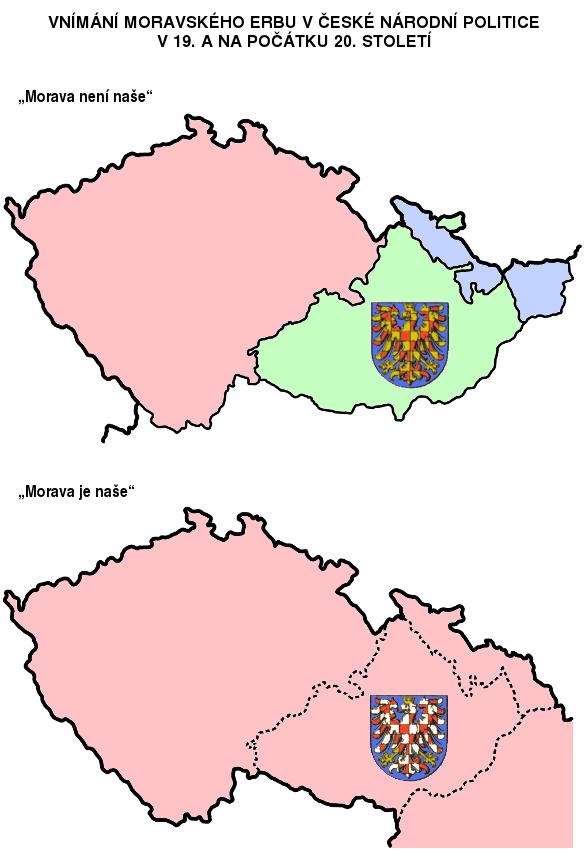 stříbrno-červené šachování moravské orlice jako vyjádření politického spojení Moravy s Čechami