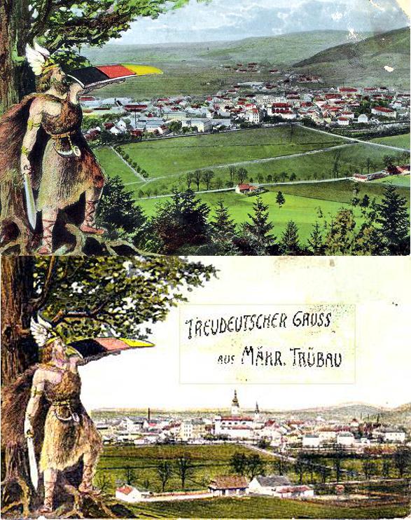 německá národní trikolóra na dobové pohlednici Moravské Třebové