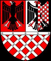 stříbrno-červeně šachovaná moravská orlice v erbu říšské župy Sudety
